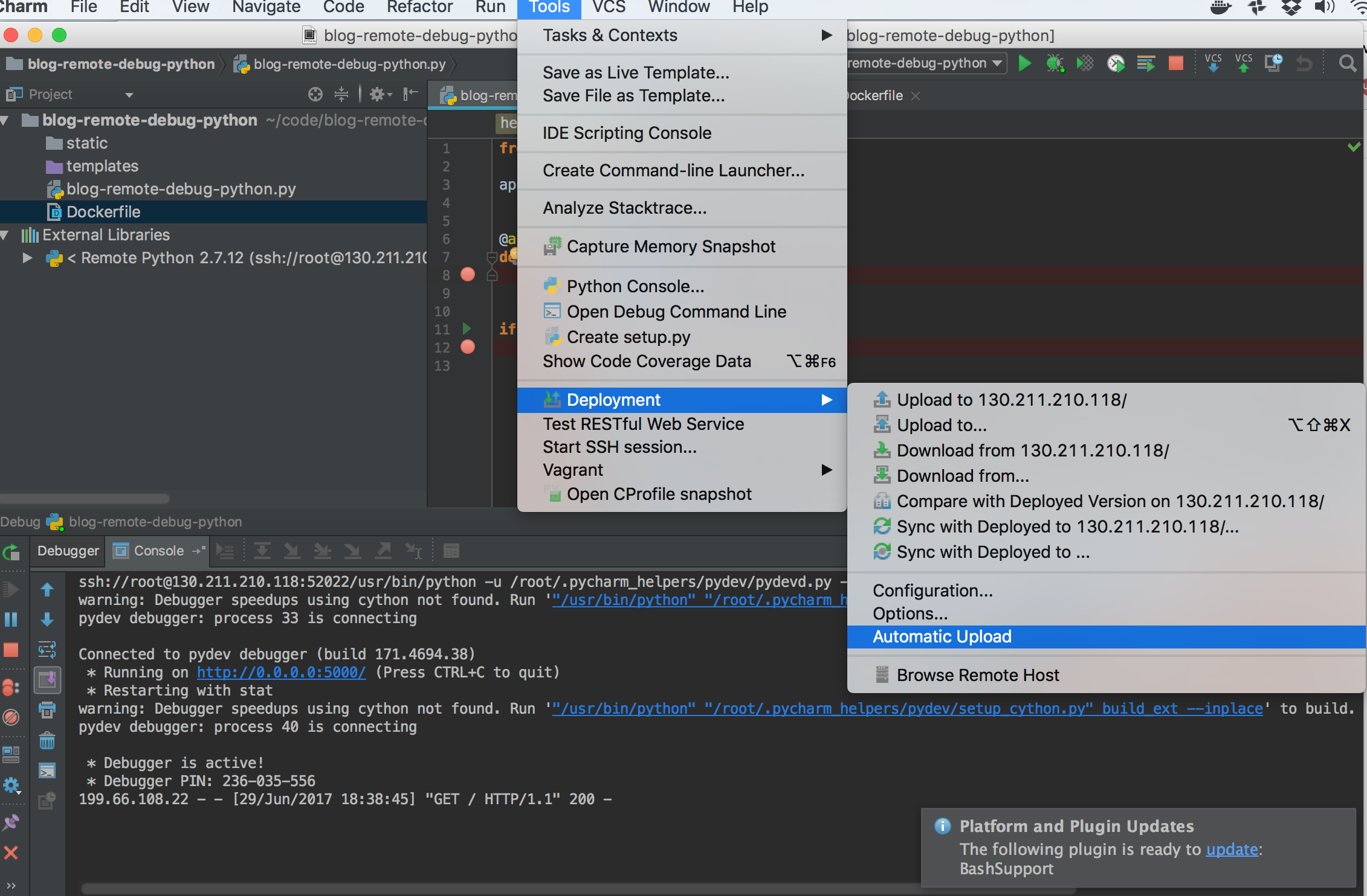 Debugging A Remote Docker Container With Pycharm | Map Tech & Code